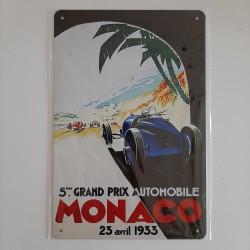 plaque metal vintage grand prix de mnaco