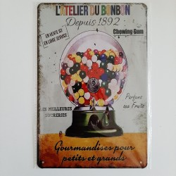 plaque métal de décoration vintage l'atelier du bonbon