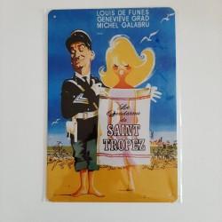 plaque métal de décoration vintage cinema le gendarme de saint tropez