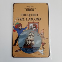 plaque metal vintage tintin the secret of the unicorn