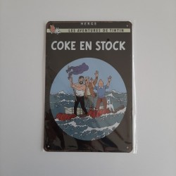 plaque metal vintage tintin coke en stock