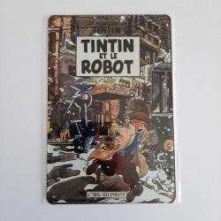 plaque metal vintage tintin et le robot