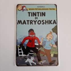 plaque metal vintage tintin di matryoshka