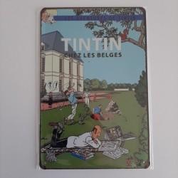 plaque metal vintage tintin chez les belges