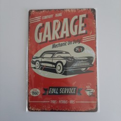 plaque metal vintage garage full service