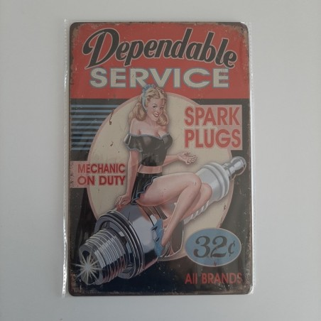 plaque metal vintage garage dependable service