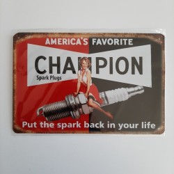 plaque metal vintage garage champion