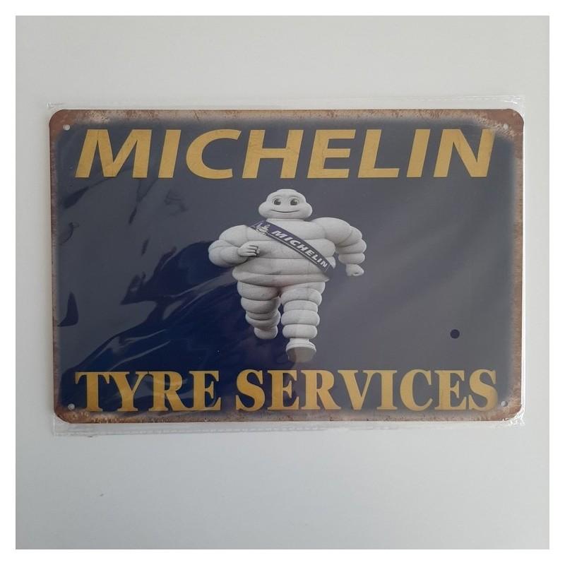 plaque metal vintage garage michelin tyre services
