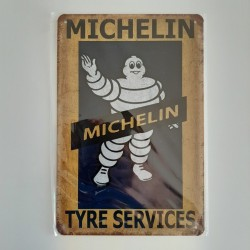 plaque metal vintage garage michelin tyre services
