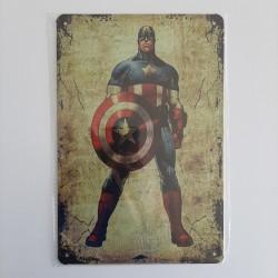 plaque publicitaire en métal de décoration vintage captain América