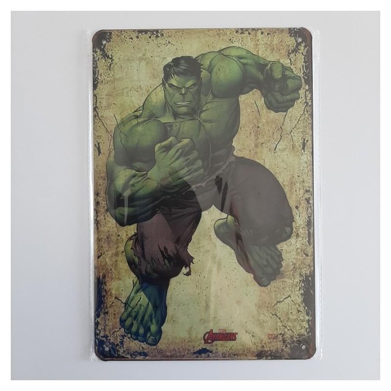 plaque publicitaire en métal de décoration vintage hulk