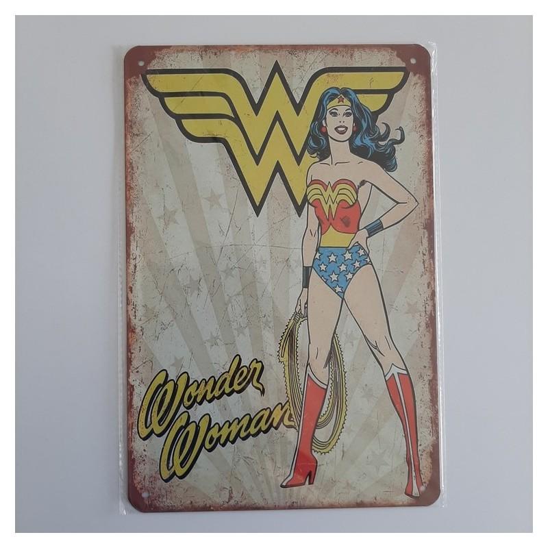 plaque publicitaire en métal de décoration vintage wonder woman