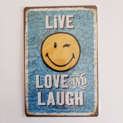 plaque publicitaire en métal de décoration vintage smiley live love and laugh