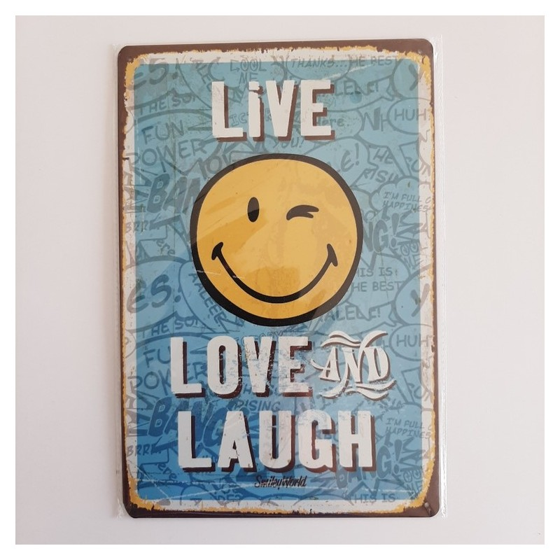 plaque publicitaire en métal de décoration vintage smiley live love and laugh