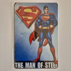 plaque publicitaire en métal de décoration vintage superman the man of steel