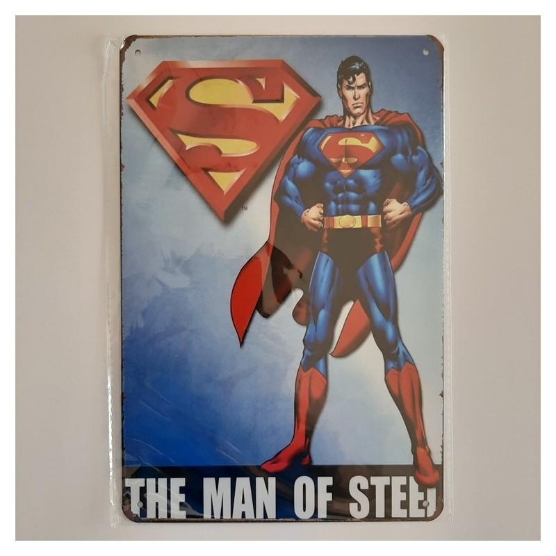 plaque publicitaire en métal de décoration vintage superman the man of steel