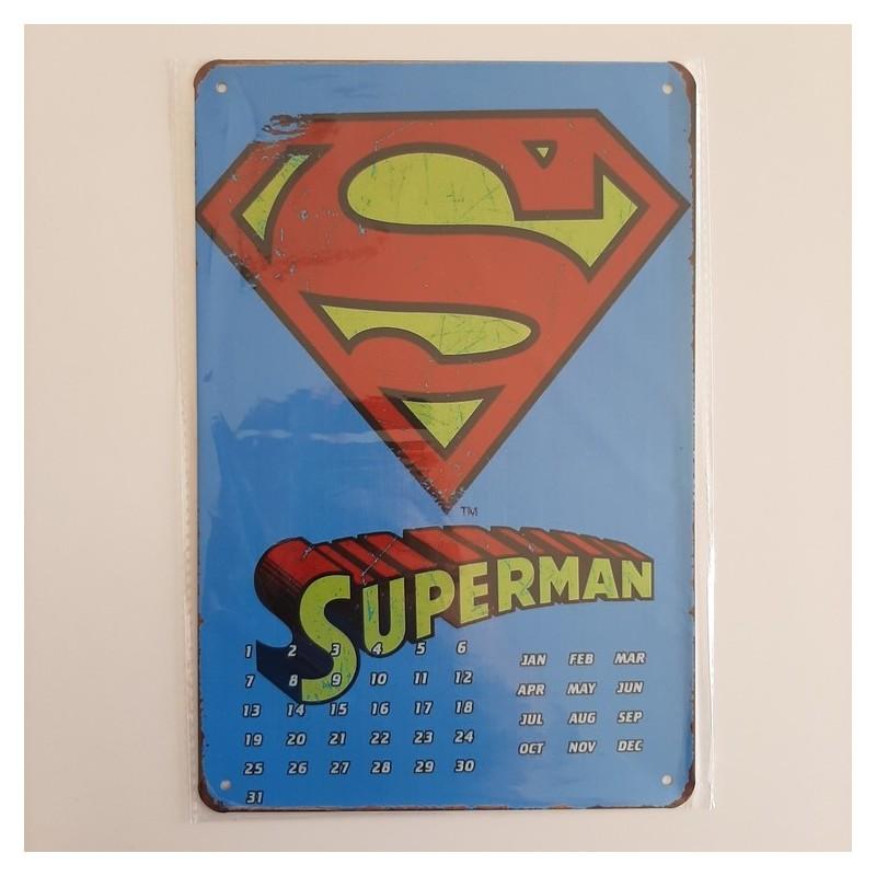 plaque publicitaire en métal de décoration vintage superman calendrier