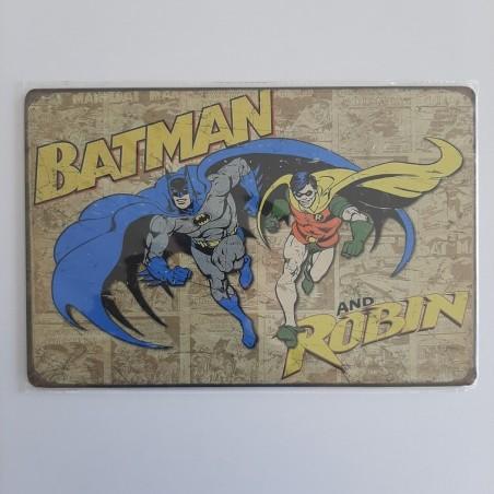 plaque publicitaire en métal de décoration vintage batman and robin