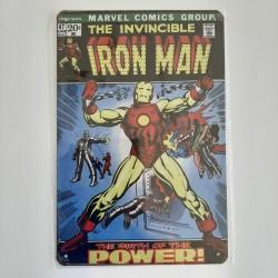plaque publicitaire en métal de décoration vintage iron man