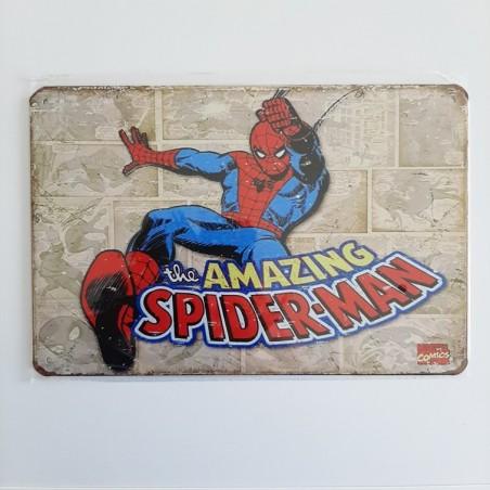 plaque publicitaire en métal de décoration vintage spiderman