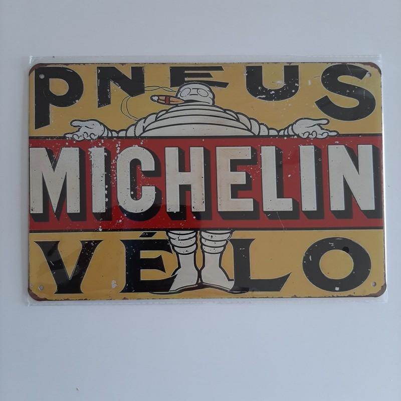 plaque metal vintage garage michelin pneus vélo