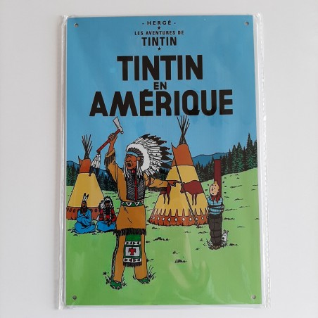 plaque métal vintage Tintin en Amérique