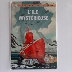 plaque métal vintage Tintin l'ile mystérieuse