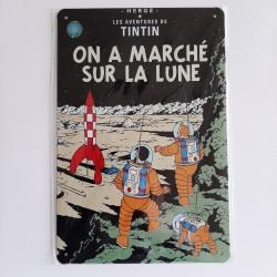 plaque metal vintage tintin on a marché sur la lune