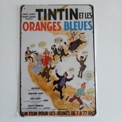 plaque metal vintage tintin et les oranges bleues