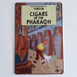 plaque metal vintage tintin cigars of the pharaoh