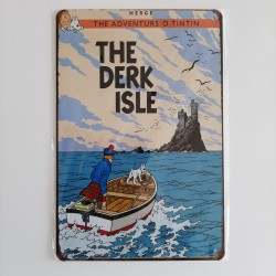 plaque metal vintage tintin the derk isle