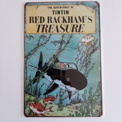 plaque metal vintage tintin red Rackham's treasure