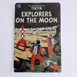 plaque metal vintage tintin explorers on the moon