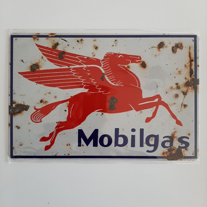 plaque metal vintage garage mobilgas