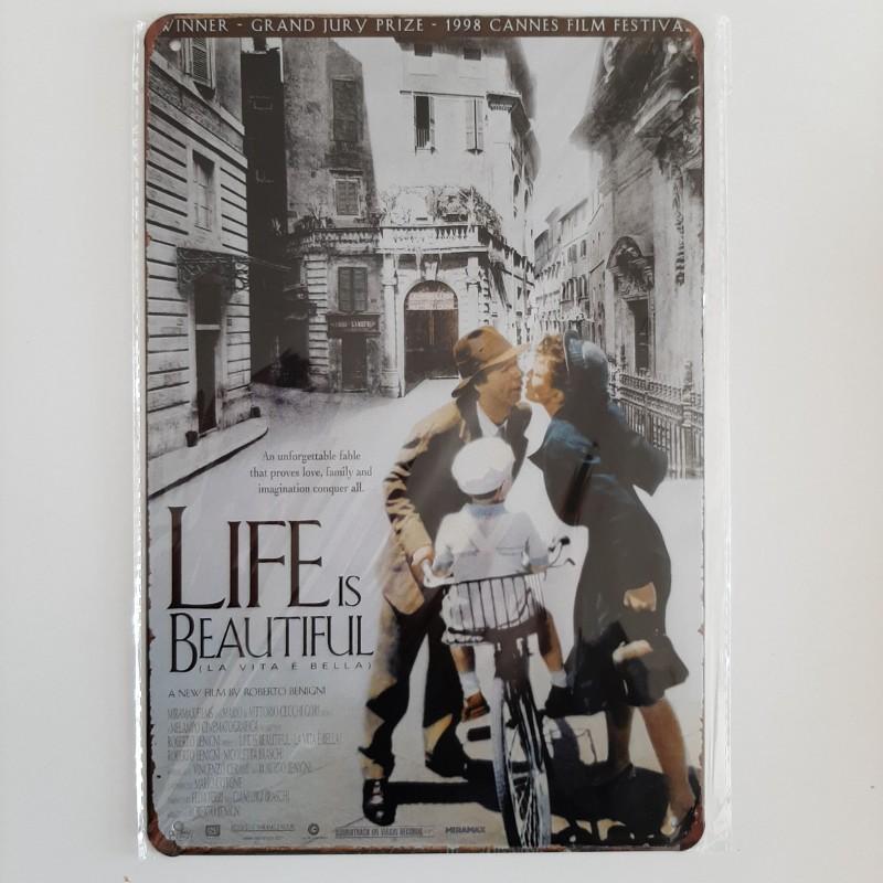 plaque métal vintage cinéma la vie est belle
