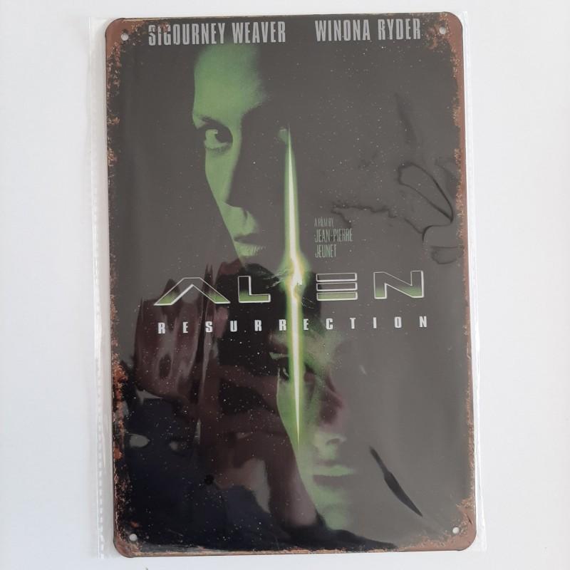 plaque métal vintage cinéma alien