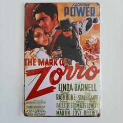 plaque métal vintage cinéma zorro