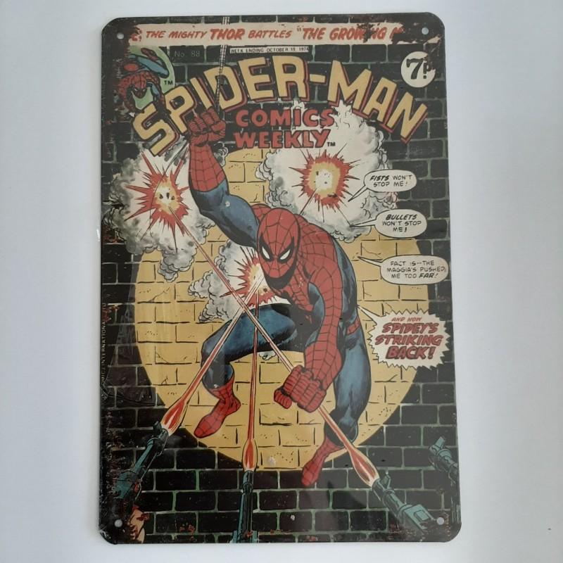plaque publicitaire en  métal de décoration vintage marvel Spider-man