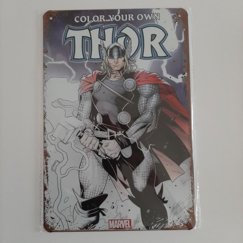 plaque publicitaire en  métal de décoration vintage marvel Thor