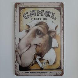 plaque métal décoration vintage publicitaire camel