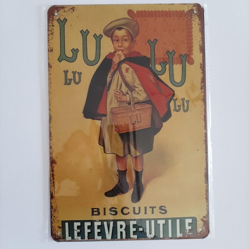 plaque métal décoration vintage publicitaire Lulu biscuits