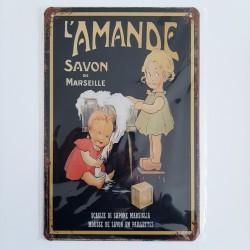 plaque métal décoration vintage publicitaire L'amande savon de marseille