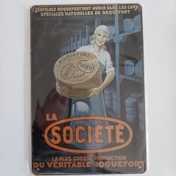 plaque métal décoration vintage publicitaire roquefort société