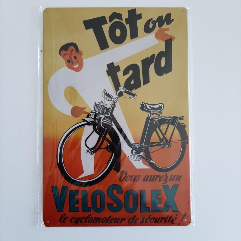plaque publicitaire en métal de décoration vintage velo solex