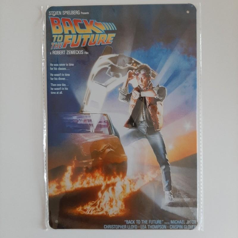 plaque métal vintage cinéma retour vers le futur