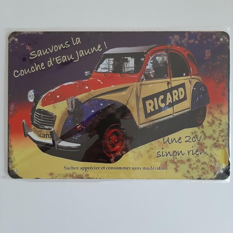 plaque métal décoration vintage Bar Ricard 2cv