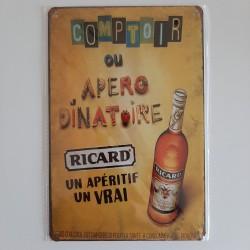 plaque métal décoration vintage Bar Ricard apero dinatoire