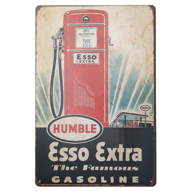 plaque en metal publicitaire vintage garage esso