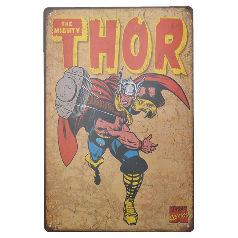 plaque en metal publicitaire vintage marvel thor