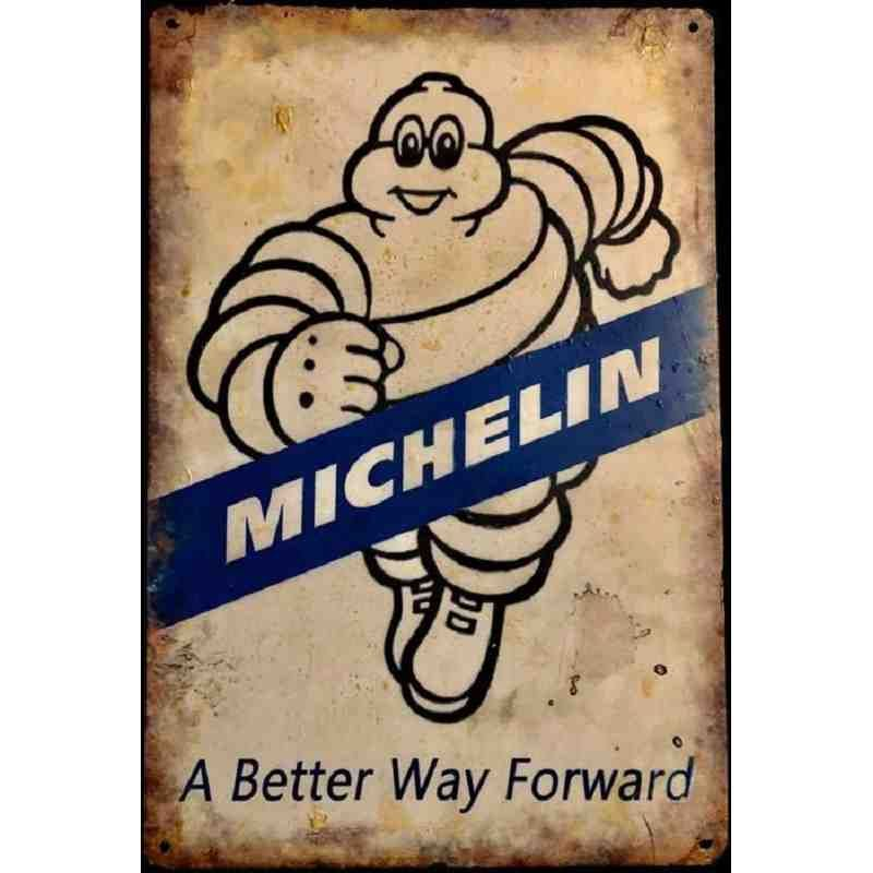 plaque en metal publicitaire vintage michelin garage